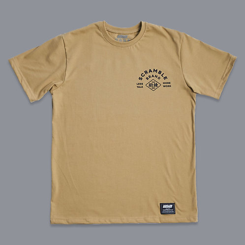 SCRAMBLE LESS TALK MORE WORK TEE - SAND