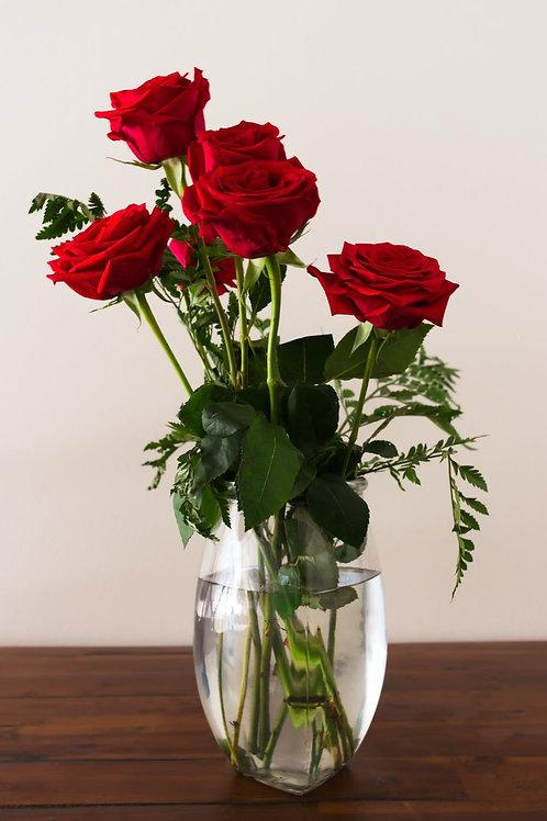 Jarrón de rosas