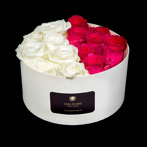 caja de madera rosas mixtas