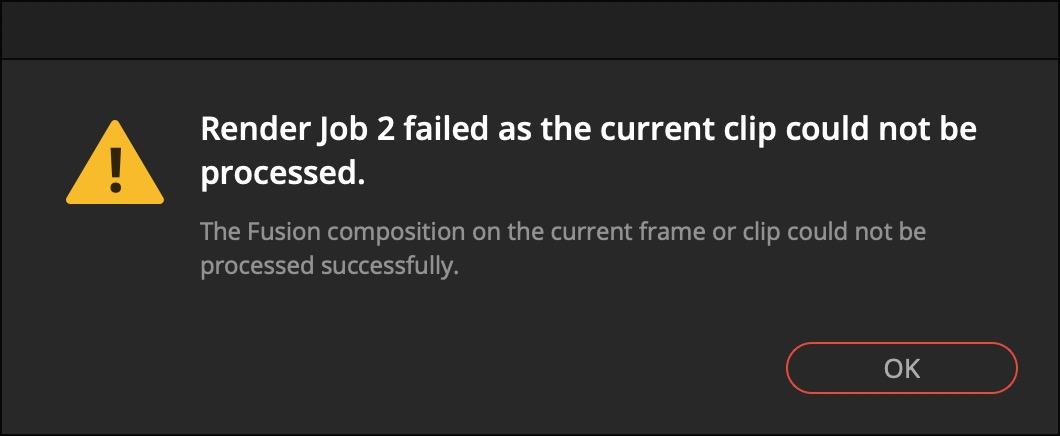 Render Job Fusion Clip failed