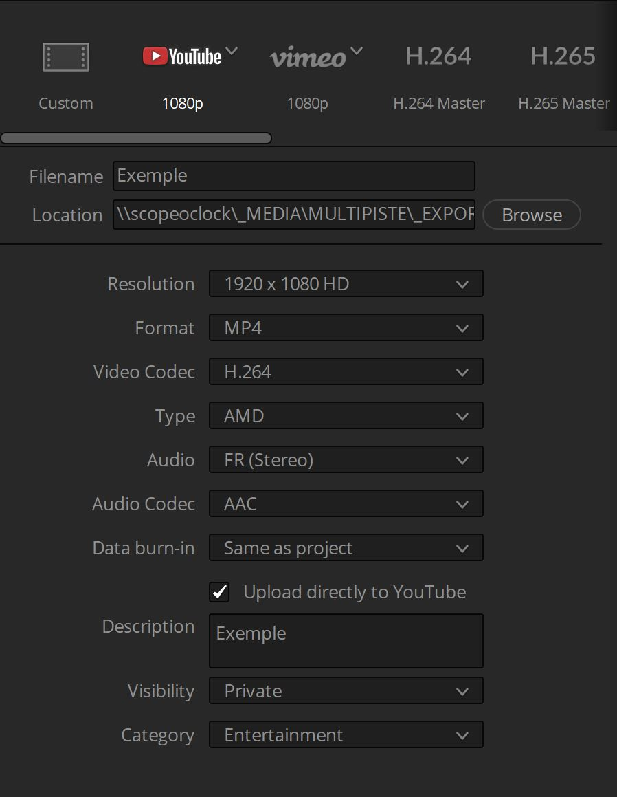preset youtube DaVinci Resolve