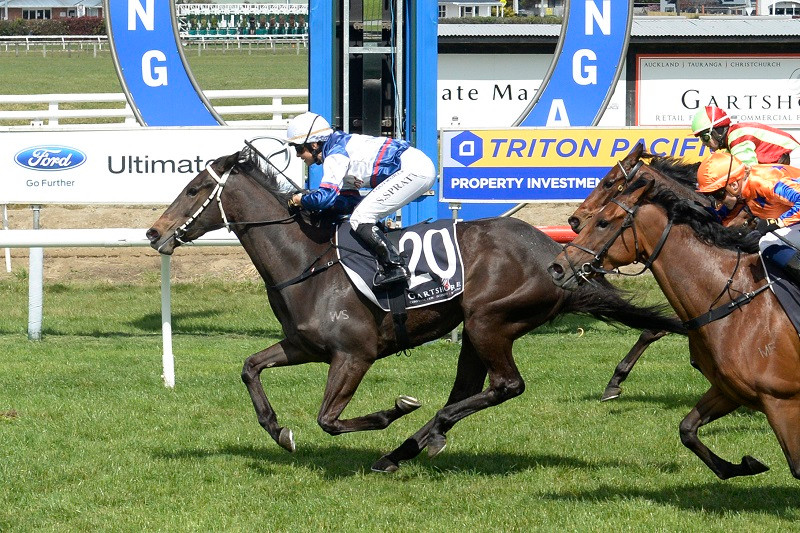 Waimoku Falls passing the post in a lead-up to the NZB Karaka Million | Photo by Race Images