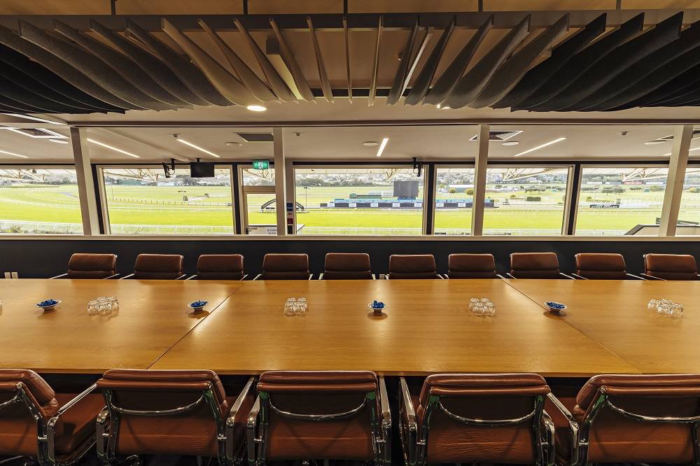 A view from above - looking over the boardroom table in the Chairman's Suite to our vast grounds bel