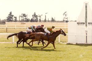 Jo Giles winning at Christchurch's Riccarton Racecourse aboard Early Riser. Image c/- jogiles.racing.org.nz