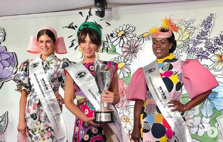 Carena West winning MYER Fashions on the Field 2019 in one of Claire's headpieces