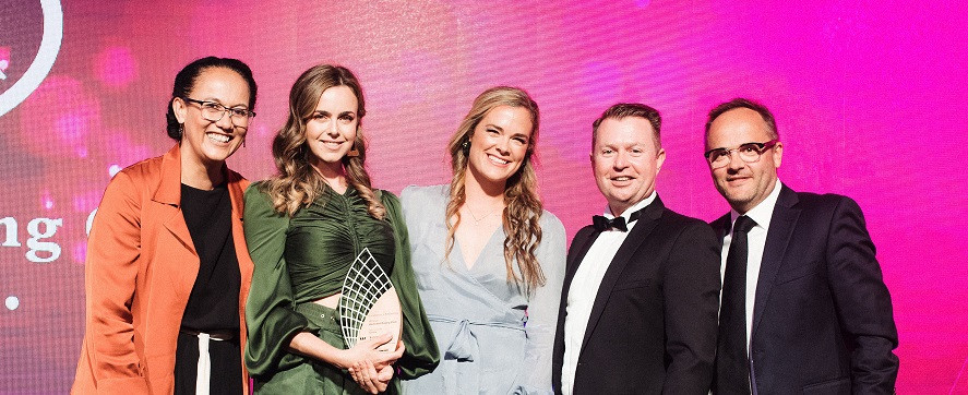 The ARC team on stage with category sponsor and awards judge, Jayson Heron-Smith (second from right) of Cordis Auckland