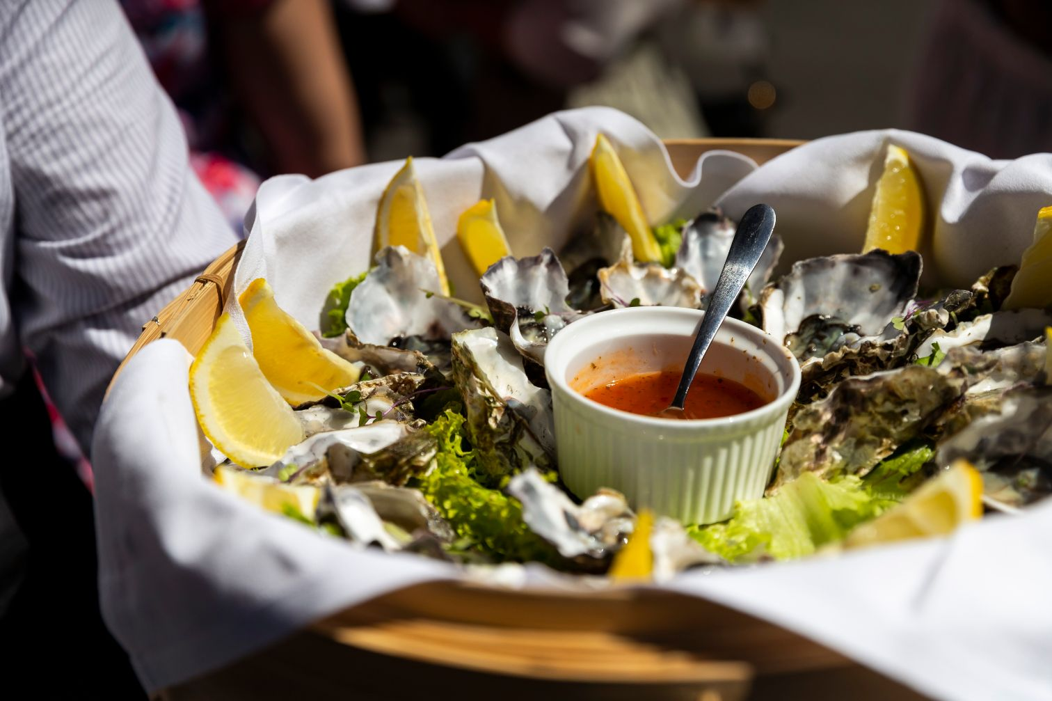 Our famed Pacific half shell oysters