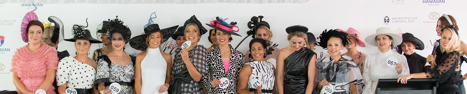 Entrants in last year's Fashion Qualifier competition on Vodafone Derby Day. Milford Centre sponsors this competition in 2021.