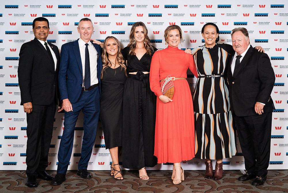 Winners! Pictured: Sarwan Singh (Cordis); Craig Fenwick; Brooke Cartwright; Olivia Kinley; Laura Madden; Margaret Germain; Sandy Moore (ARC Deputy Chairman)