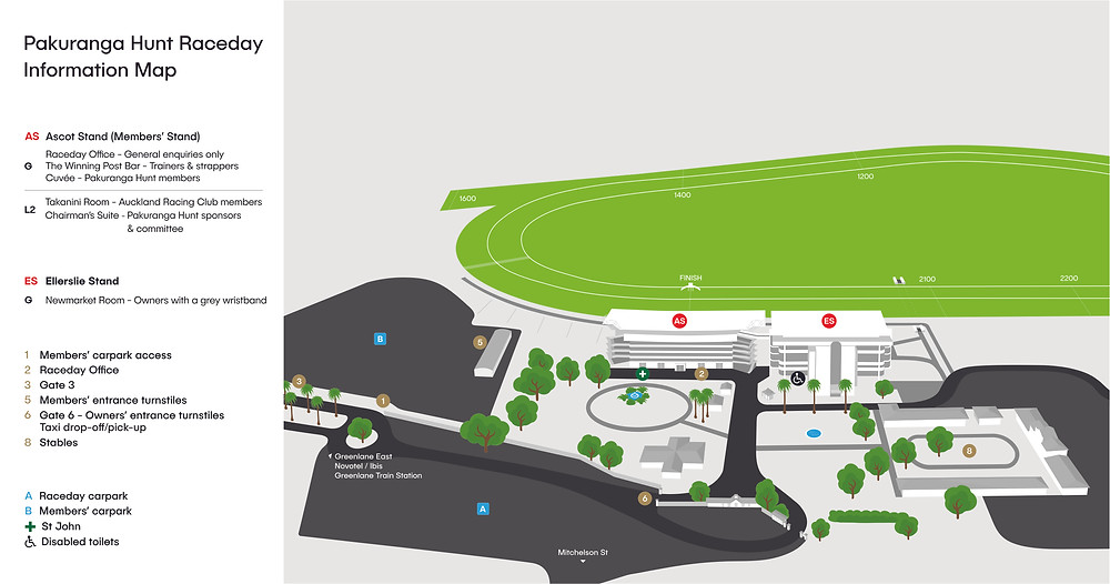 Ellerslie Racecourse map for Pakuranga Hunt Club Day 2020