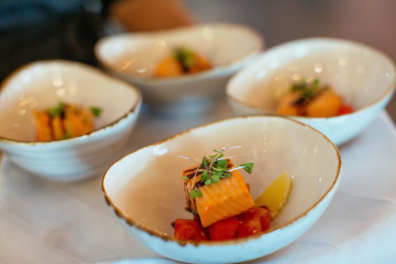 """A """"taster"""" of Chef's scrumptious fillet of South Island salmon on watermelon salad with pink ginger"""