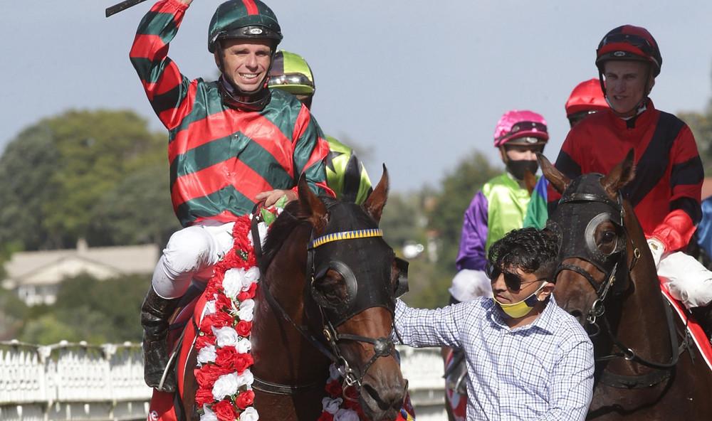 Horse and jockey after winning a race