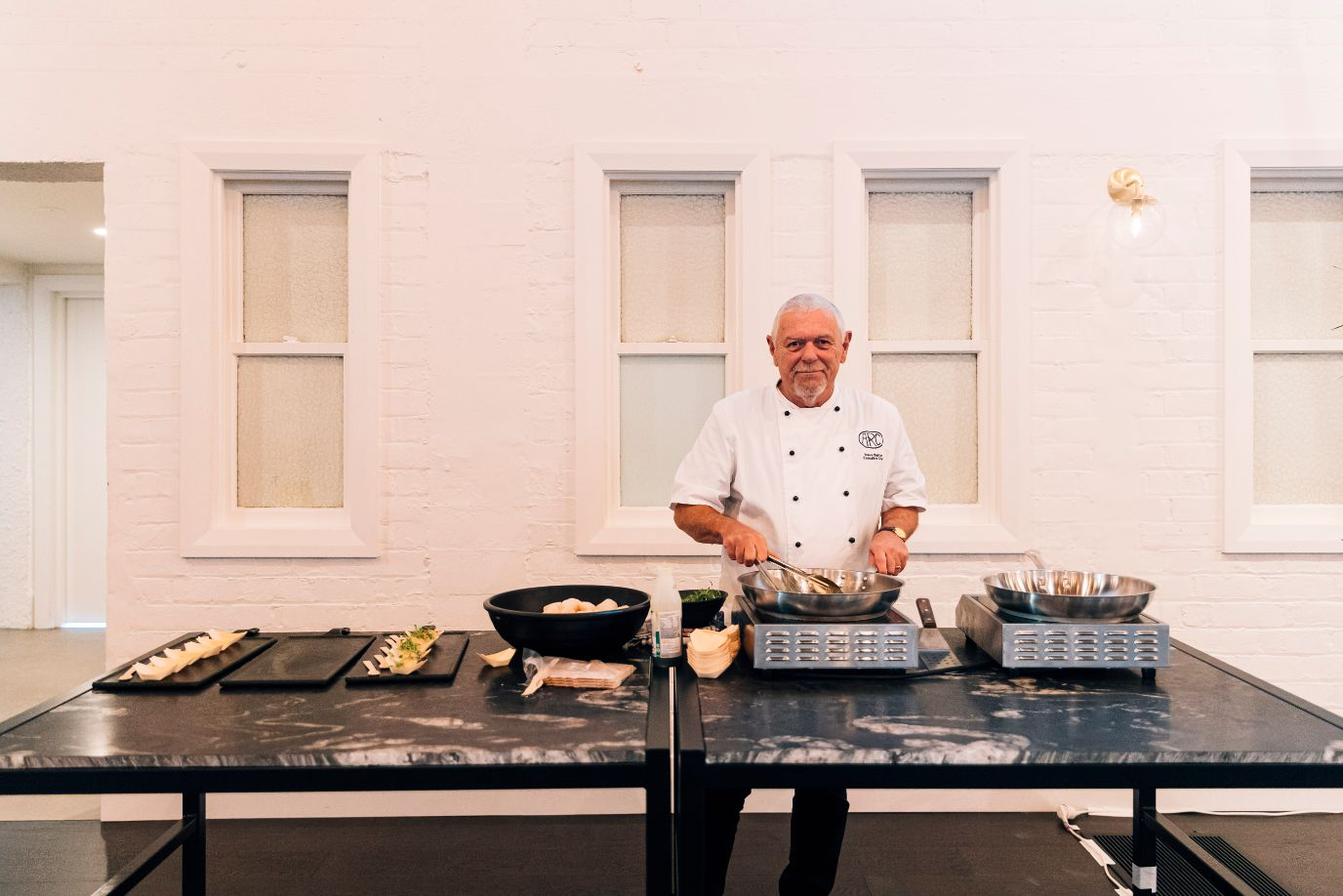 Our Executive Chef, Steve Barton, primed & ready at a live cooking station - a fun feature for any e