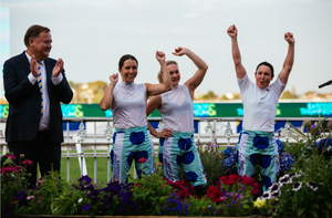 Victory! The Mystics Women celebrate their win of the 2019 Barfoot & Thompson Jockeys' World Cup with Peter Thompson cheering on