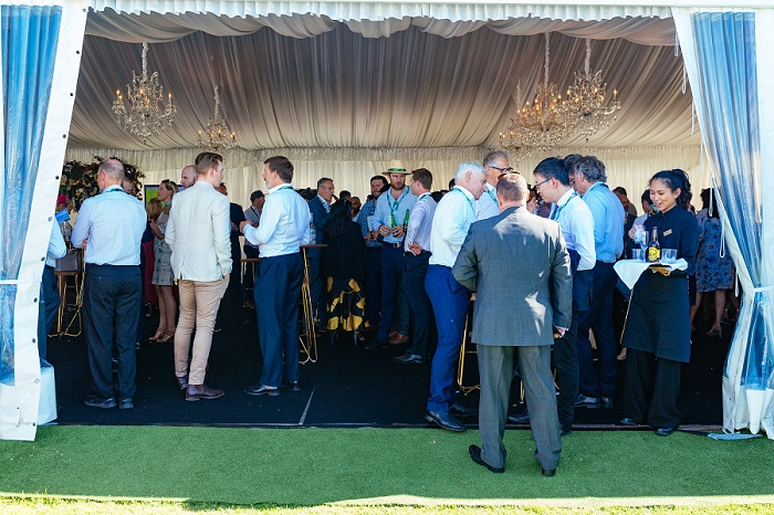 Corporate function inside our Champagne Lawn Marquee
