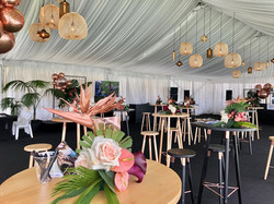 Another way to bring your theme to life in our Champagne Lawn marquee - with a lighting installation