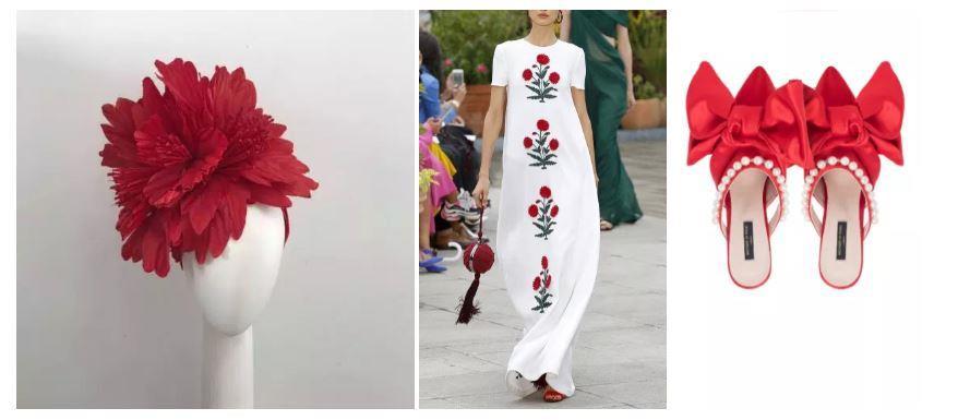 L-R Millinery: Claire Hahn, Dress: Oscar De La Renta, Shoes: Mother of Pearl.