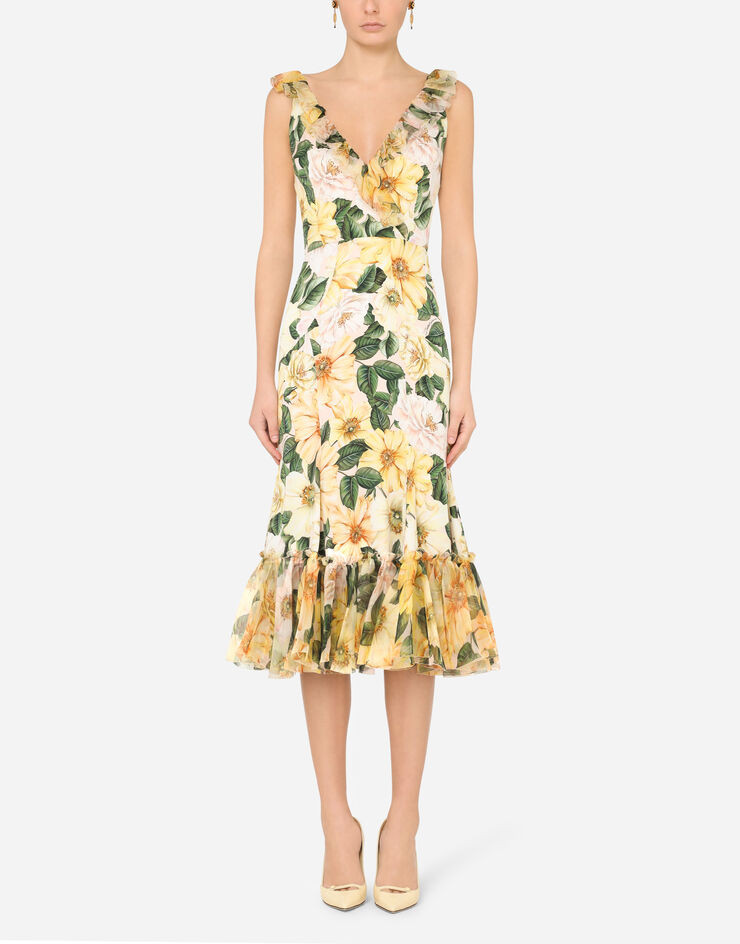 Big floral prints are in, like those on this Dolce & Gabbana camellia-print dress