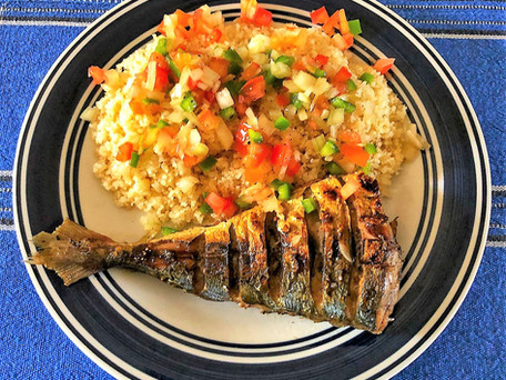 Braised Fish With A Side Of Attieke And Moyo Sauce