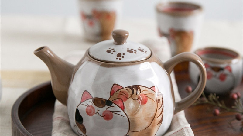 NOOLIM Japaneses Clay Cute Cat Tea Pot Tea Cup
