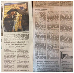 A news article about Miss Teen Keystone State Rodeo 2021 - Cordelia Williams - from The Record-Argus