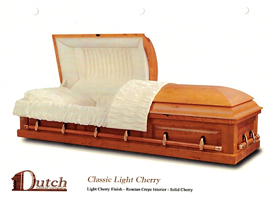 Solid cherry with light cherry finish, and a rose tan crepe or velvet interior