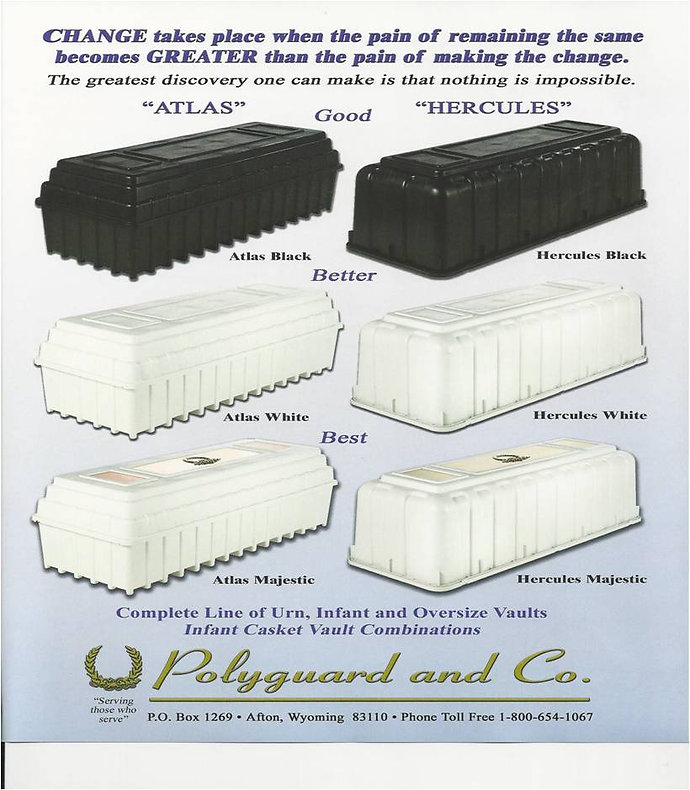 Polyguard vaults, black and white Atlas vaults