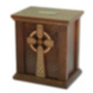 wooden urn with a cross