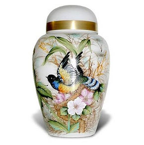 ceramic urn with birds and flowers
