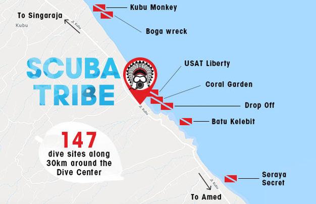 scuba tribe bali dive center tauchen schoole centre e plongé ecole de plongée die resort dsd intro uss liberty