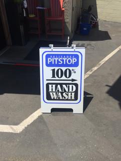 Palisades Pitstop Carwash & Detail Hand Wash Sign