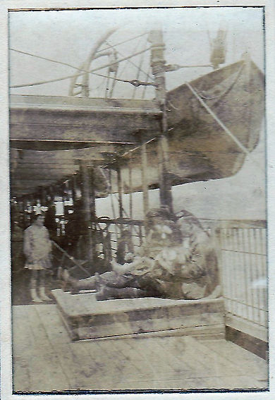 Major George Pirie on board the SS Malwa with his family, en route from France to Mesopotamia in May 1919
