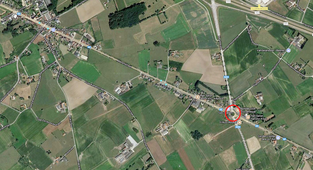 Aerial photo of the location of Deimlingseck, at the intersection of the N303 and N8, near Gheluvelt, Belgium