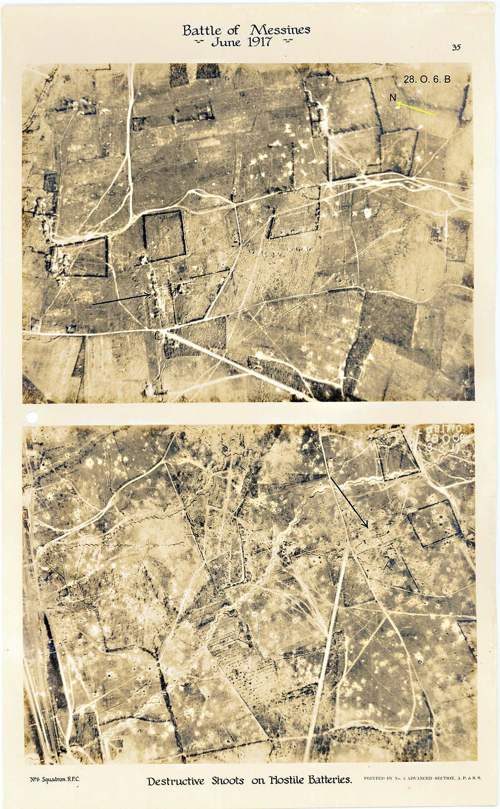 6 Squadron aerial photos of destructive shoot at Klein-Zillebeke, taken by 6 Squadron immediately prior to the Battle of Messines, 1917