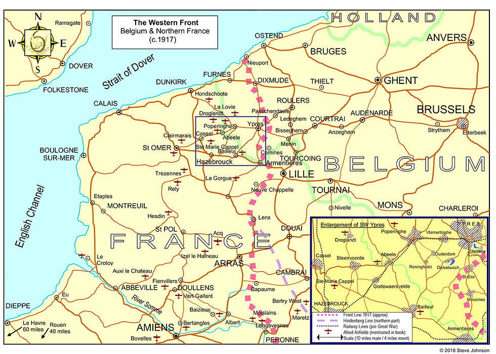 Map of the Western Front c 1917, with roads and railways marked and allied aerodromes mentioned in Steve Buste Johnson's books, 'For God, England and Ethel' and 'Over the Western Front'.