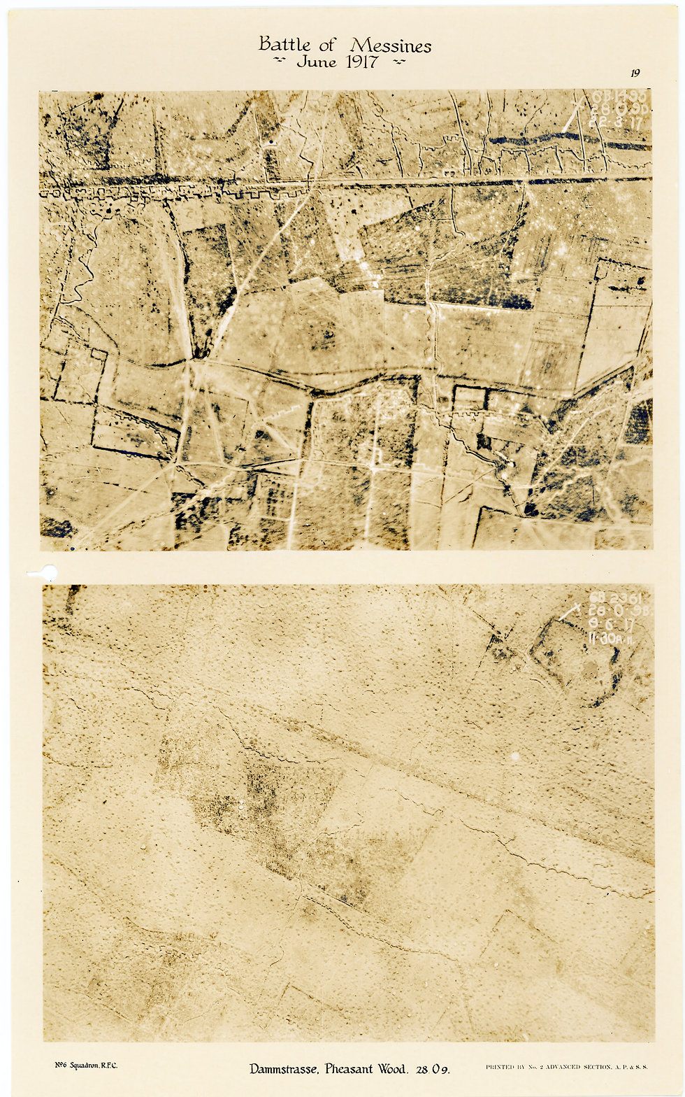 6 Squadron aerial photos of Dammstrasse and Pheasant Wood, taken by 6 Squadron before and after the Battle of Messines, 1917