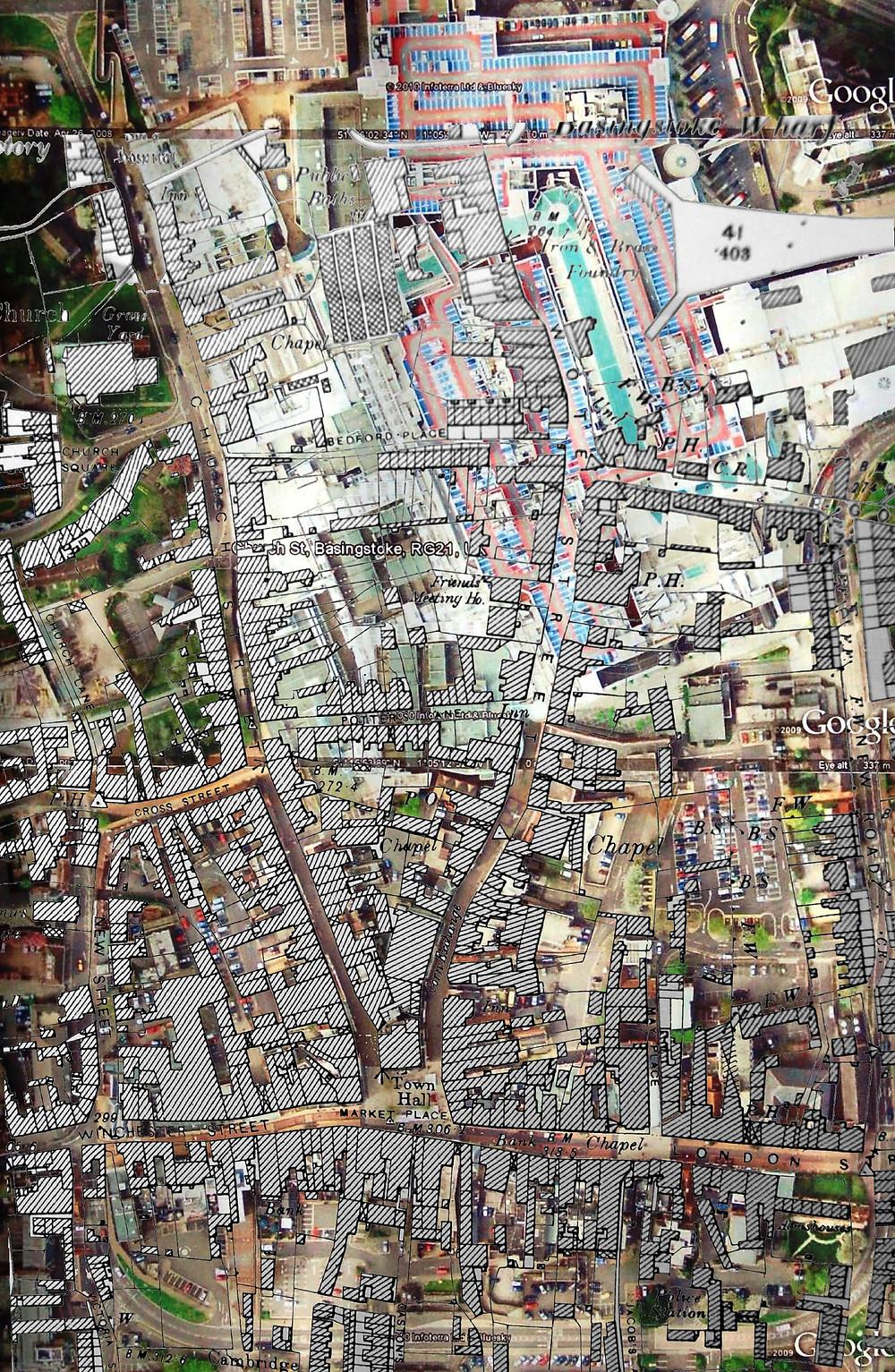 Aerial photo of Basingstoke (UK) town, overlaid by a 1910 map of Edwardian Basingstoke