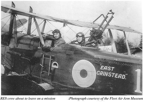 Crew of a Royal Aircraft Factory RE8 about to leave on a mission