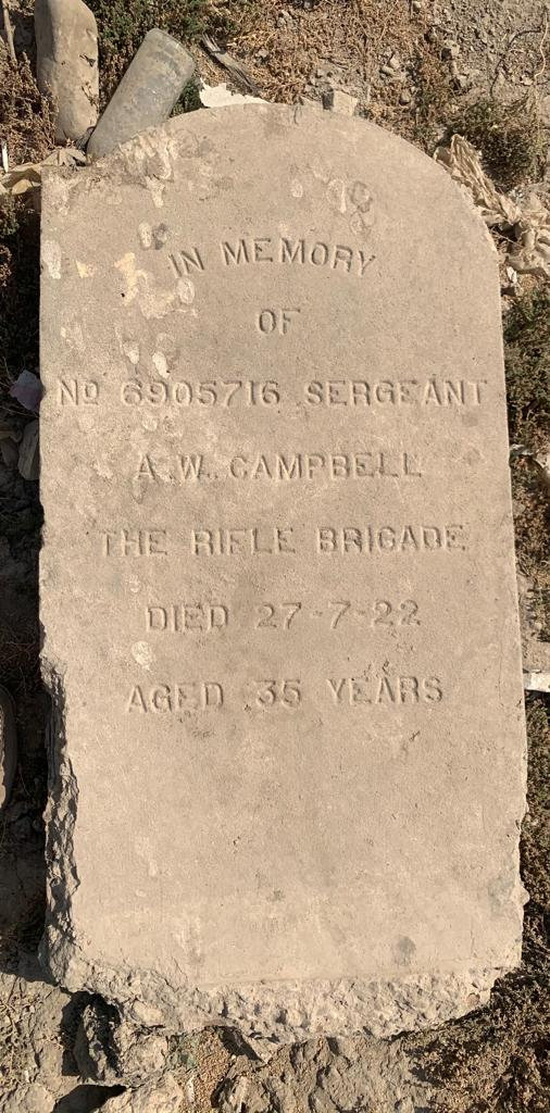 This is a photo of the grave headstone at Hinaidi RAF Cemetery (Ma'asker al Raschid RAF Cemetery) for Sergeant A W Campbell