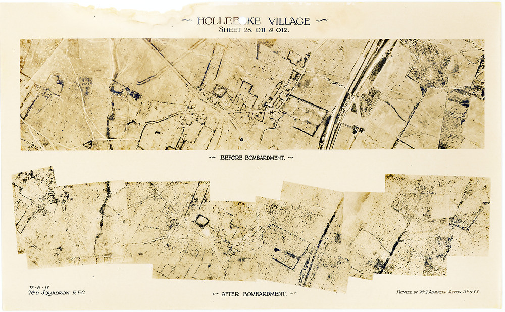 Aerial photos of Hollebeke Village, taken by a 6 Squadron pilot before and after the allied bombardment at the Battle of Messines in June 1917