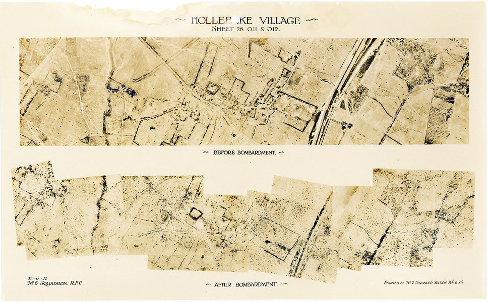 6 Squadron aerial photos of pre-bombardment barrage at Hollebeke village, taken by 6 Squadron immediately prior to the Battle of Messines, 1917