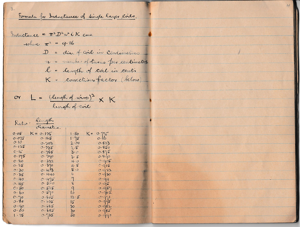 A single page of the wireless training notebook compiloed by my gradfather,