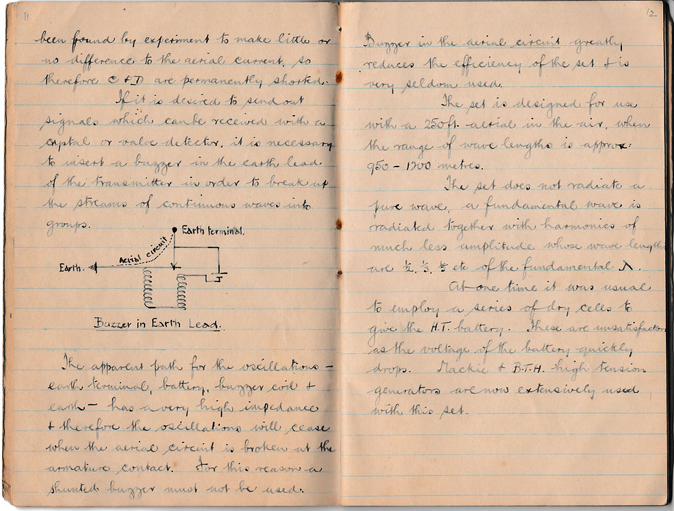 More notes on the aircraft transmitter Type W, describing the Action of the set and the Buzzer in the Earth lead.