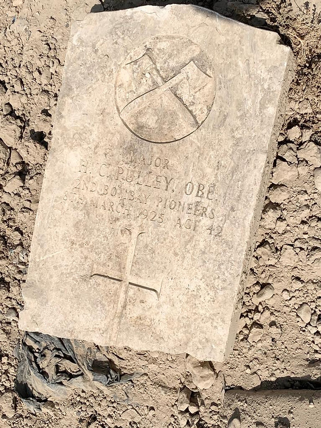 This is a photo of the grave headstone at Hinaidi RAF Cemetery (Ma'asker al Raschid RAF Cemetery) for Major Harry Cuthbert Pulley OBE