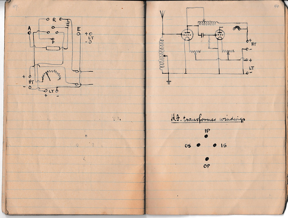 Circuit diagram of a dual valve receiver, in useby the Royal Air Force during 1918. Details also on the HT transformer windings