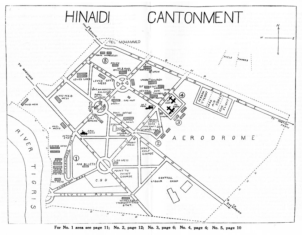 Approximate layout of RAF Hinaidi Cantonment as it was in 1935