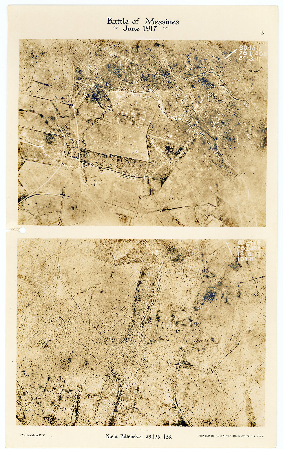 6 Squadron aerial photos of Klein Zillebeke before and after Battle of Messines