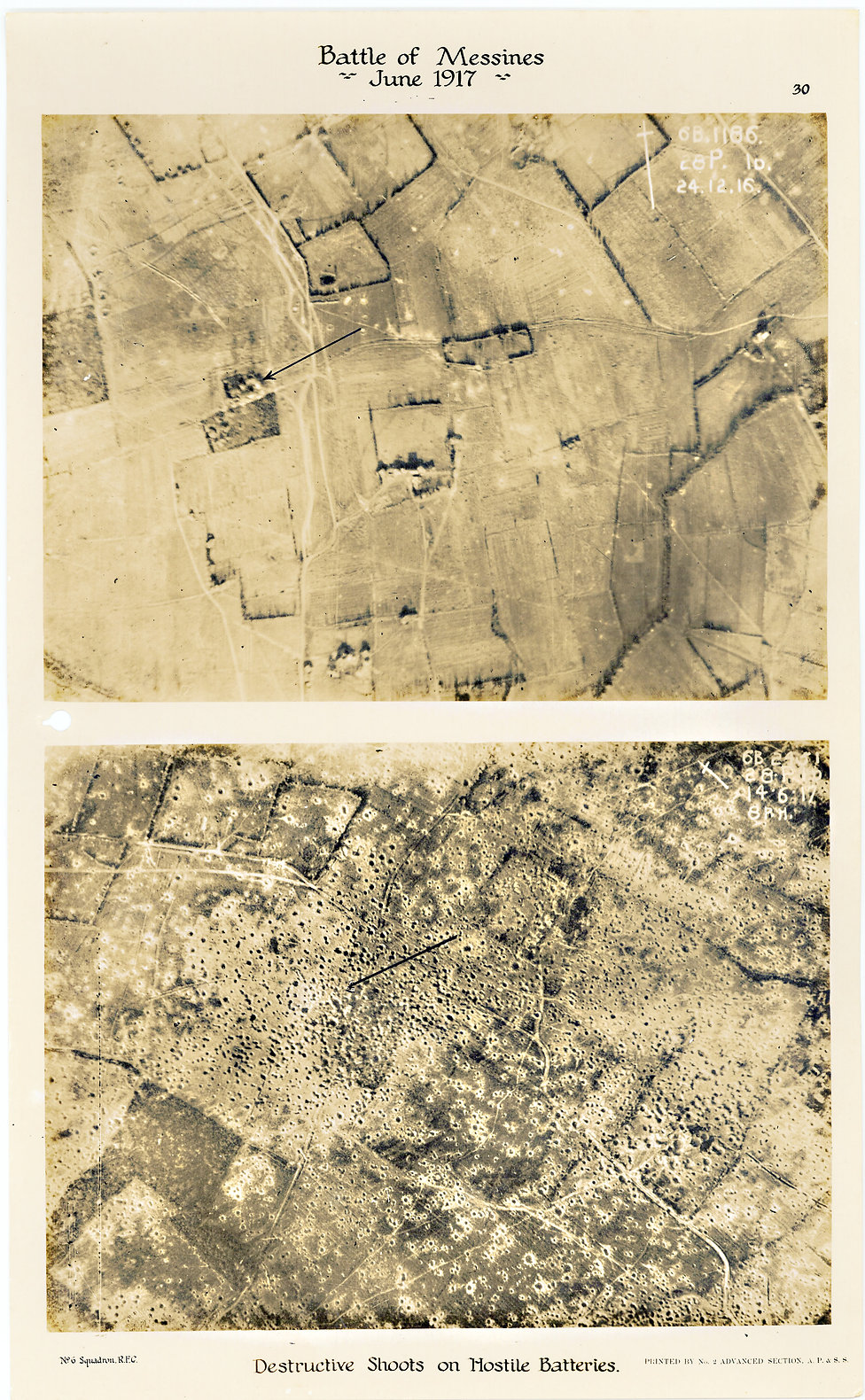6 Squadron aerial photos of destructive shoot south of Zandvoorde, taken by 6 Squadron before and after the Battle of Messines, 1917