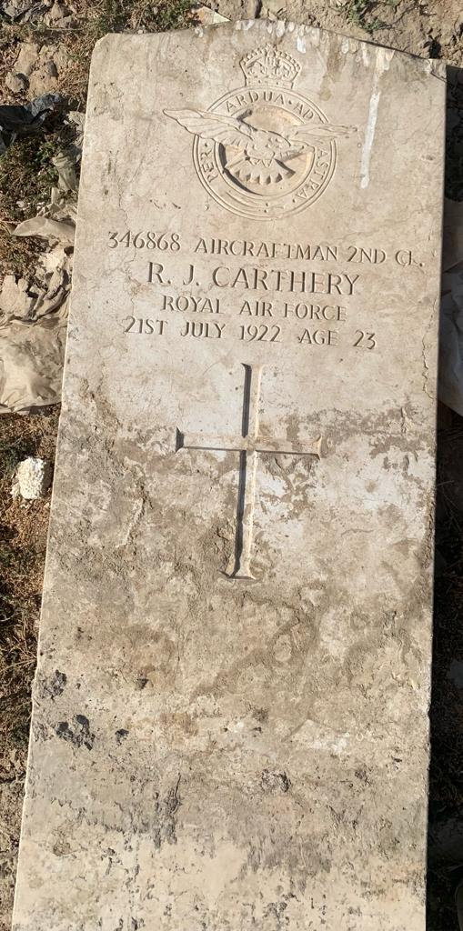 This is a photo of the grave headstone at Hinaidi RAF Cemetery (Ma'asker al Raschid RAF Cemetery) for AC2 Reginald Carthery