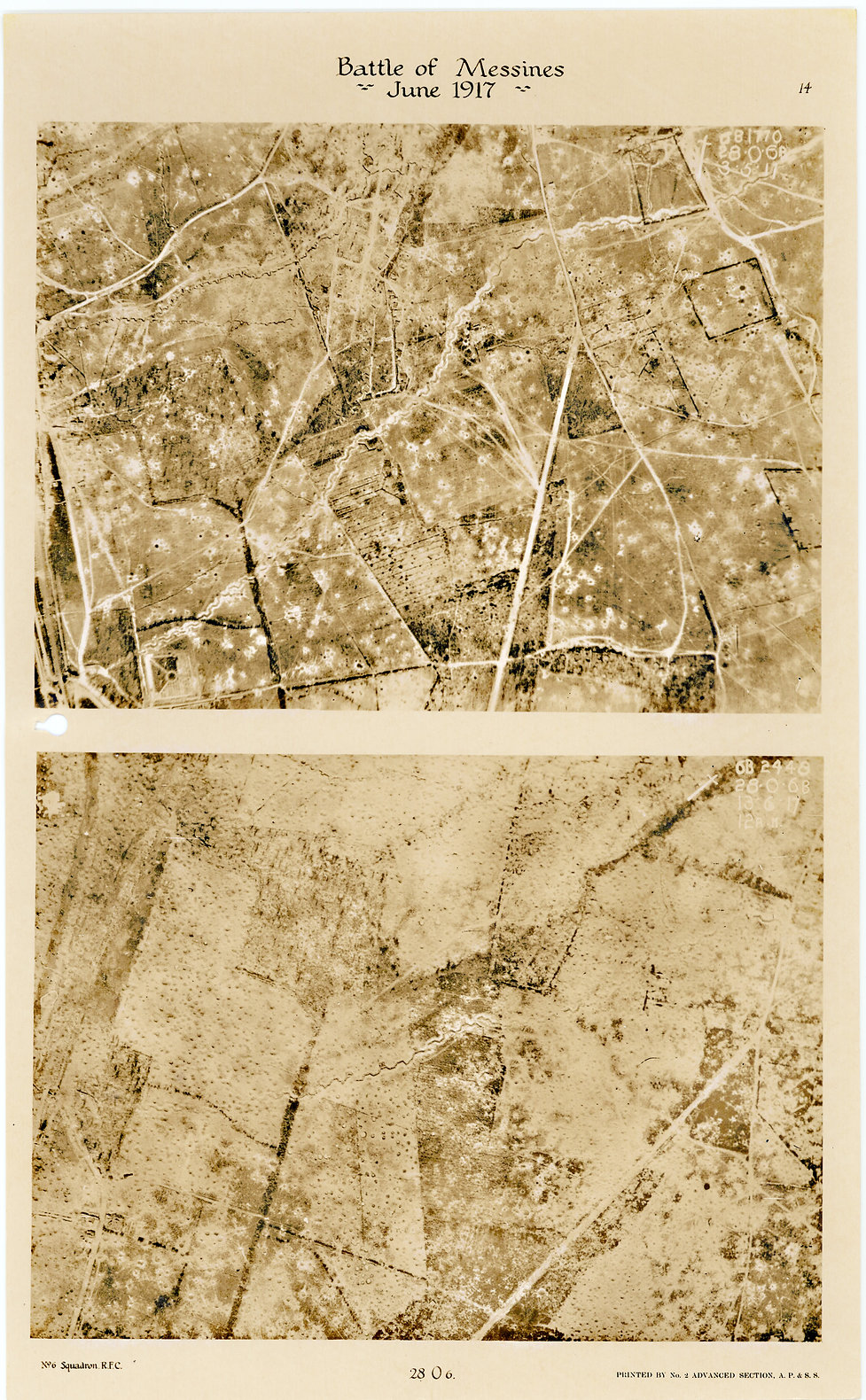 6 Squadron Aerial photos of Palinbeek Forest, taken by 6 Squadron before and after the Battle of Messines, 1917